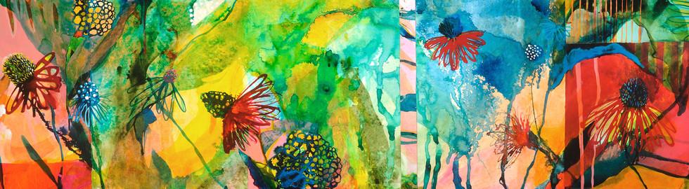 Hydrangea and Coneflowers