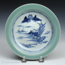 Celadon, blue and white dish