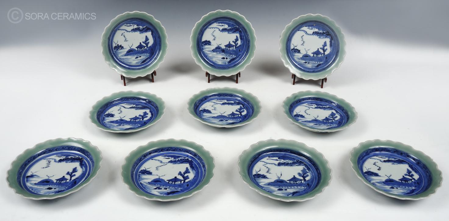Ko-Imari plates; celadon rims