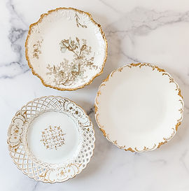 Emma Ecru & Gold Salad Plate Collection.