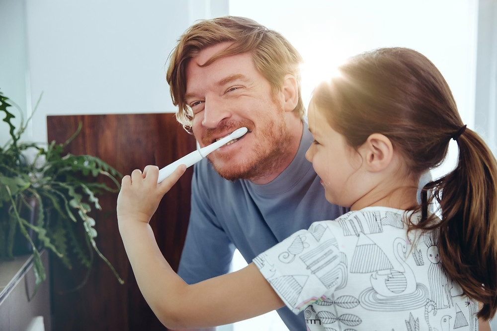 brushing teeth, father and daughter, tooth brush
