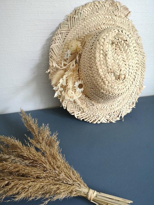 Chapeau fleurs séchées