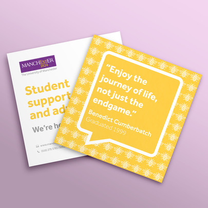 University of Manchester yellow flyer mock-up