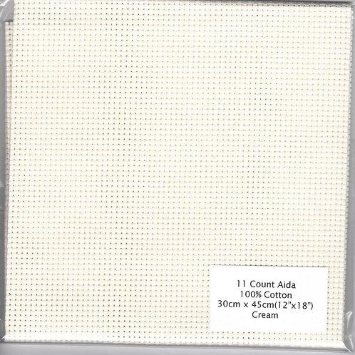 """11 Count Aida Cream - 30 cm x 45 cm (12"""" x 18"""")"""