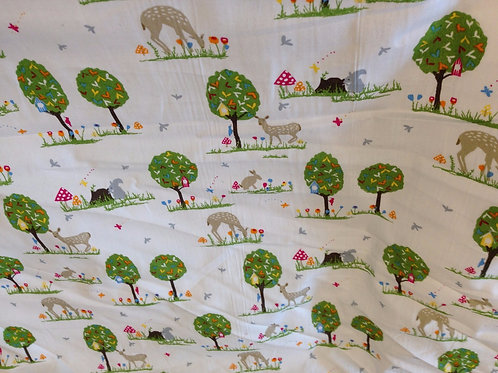 Cute Trees and Animals Printed Cotton Fabric