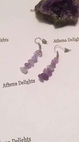 amethyst long crystal earrings