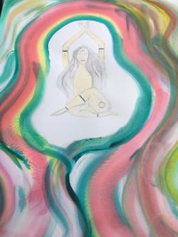 yoga goddess watercolor original