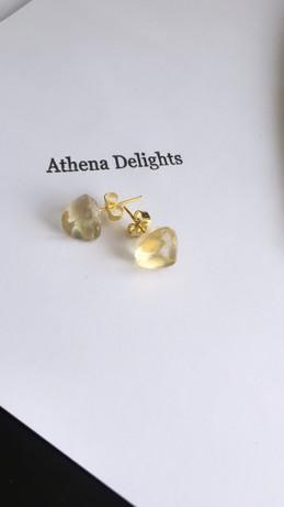 citrine stud style gemstone earrings