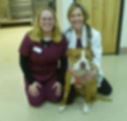 Sadie and her Emergency Care Team: Dr. Heidi Wampler and Therese.