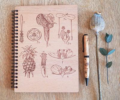 Carnet en bois PEFC - herboriste -