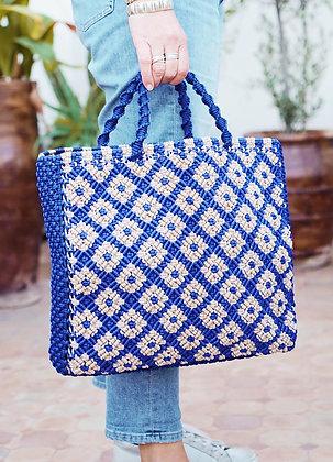 cabas en corde tressée couleur bleu klein Marrakech