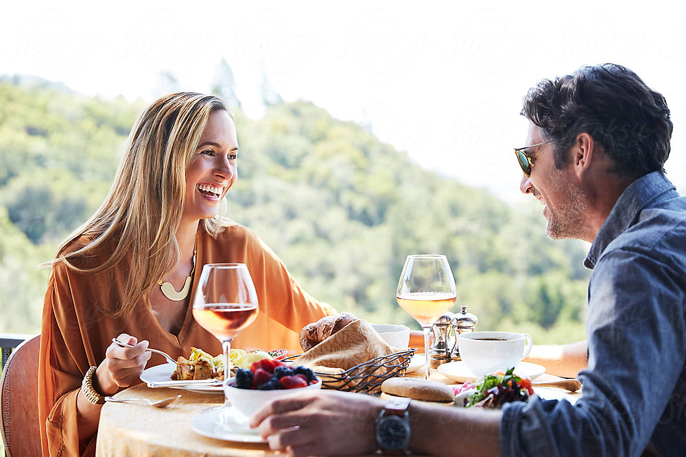 Couple having brunch in napa valley