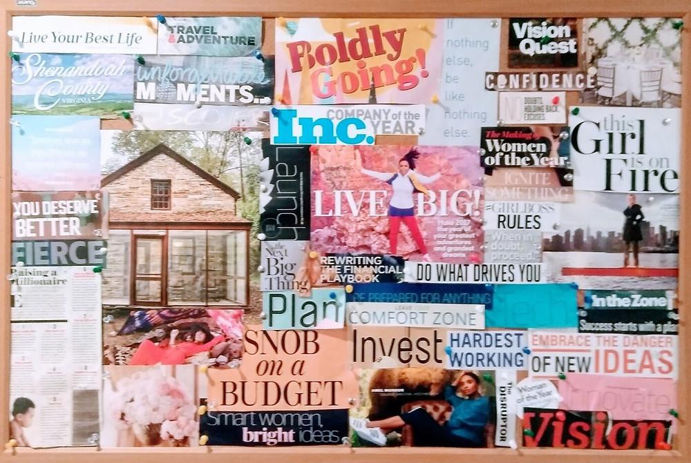 Financial success vision board