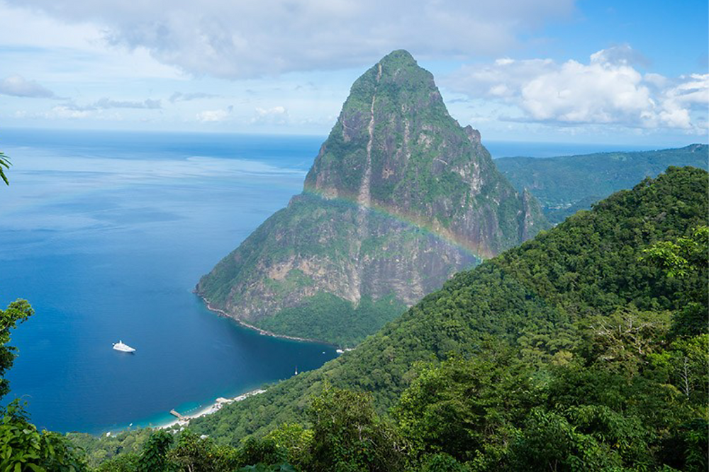 Rainbow over the mountains of St. Lucia