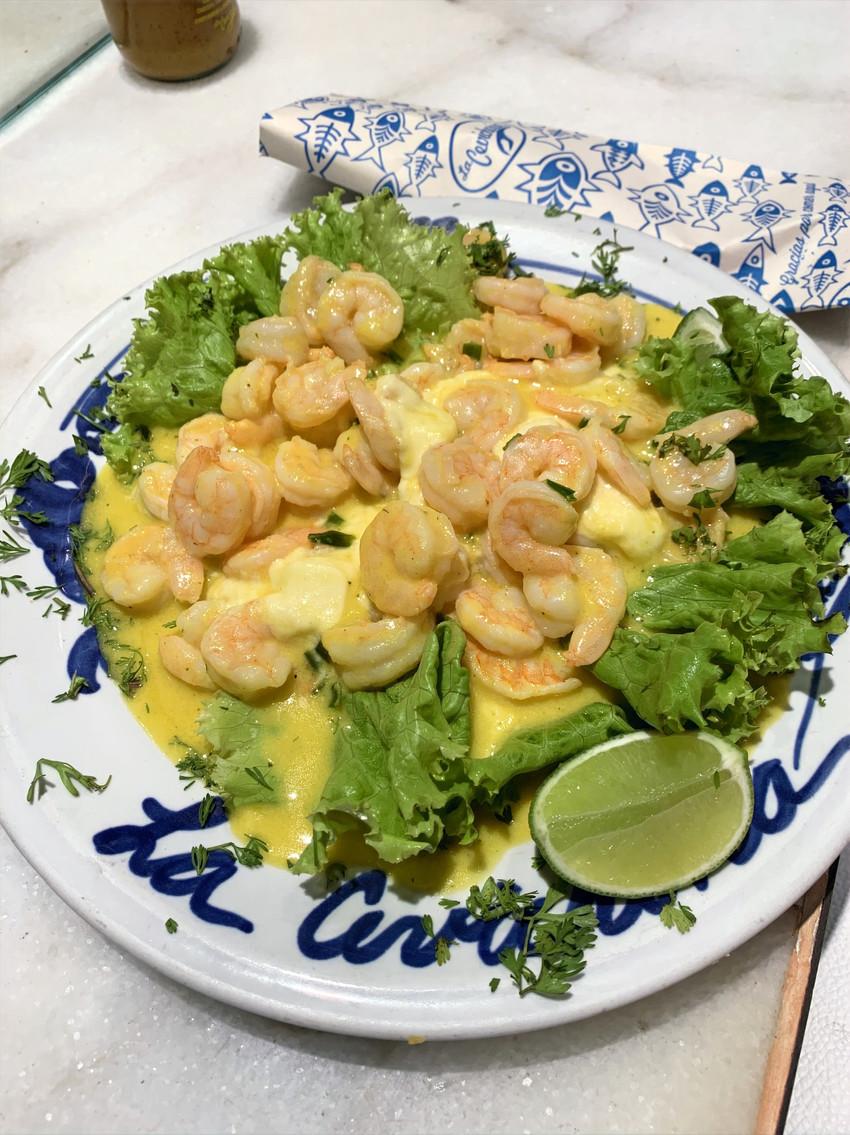 shrimp dish at best columbian restaurant in cartagena