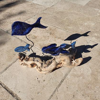Banc de poissons céramique sur bois flotté