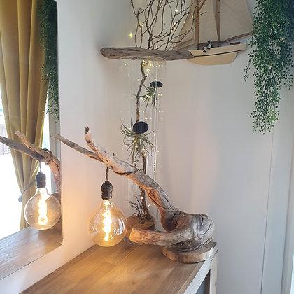 Lampe branche sur socle en chêne