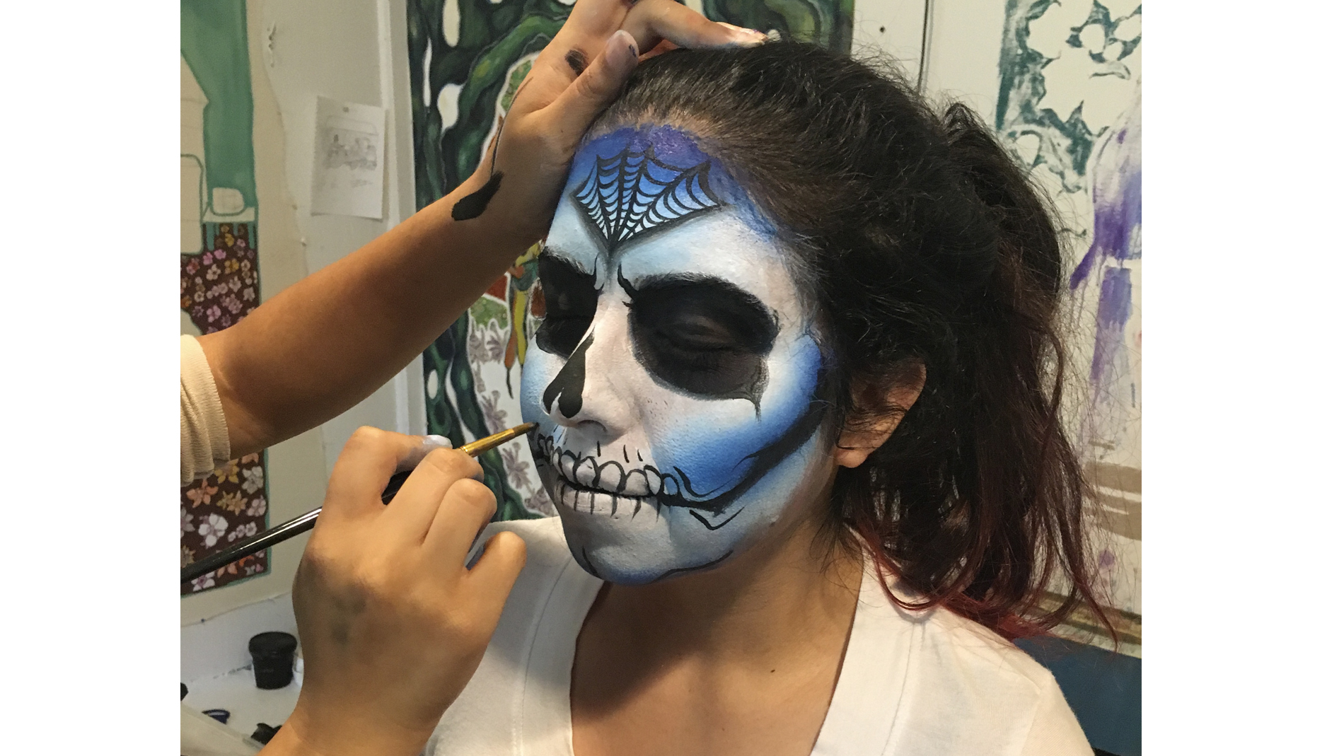 Skull face paint in progress