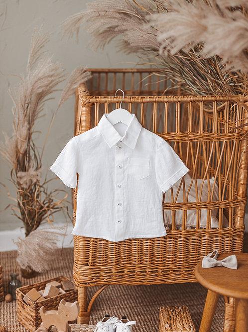 Lininiai marškiniai trumpomis rankovėmis