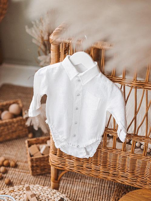 Linen shirt-bodysuit