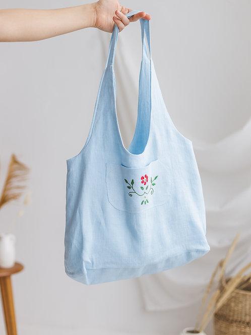 Lininis pirkinių krepšys su siuvinėjimais