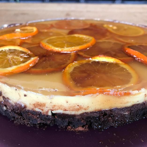 Tarte orange base brownie maison