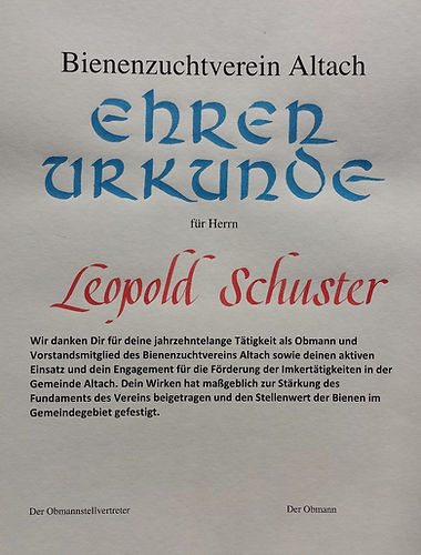 Kalligraphie Urkunde Anton Pichler Vorarlberg