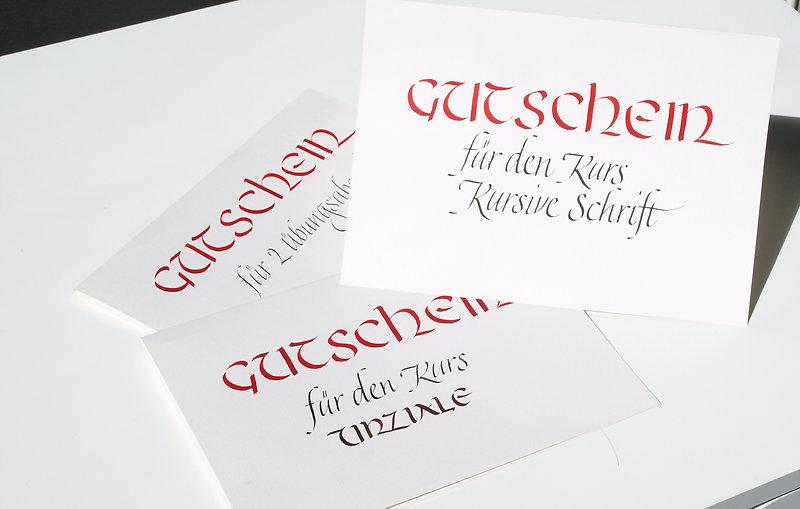 Gutscheine für Kalligraphiekurse von Anton Pichler