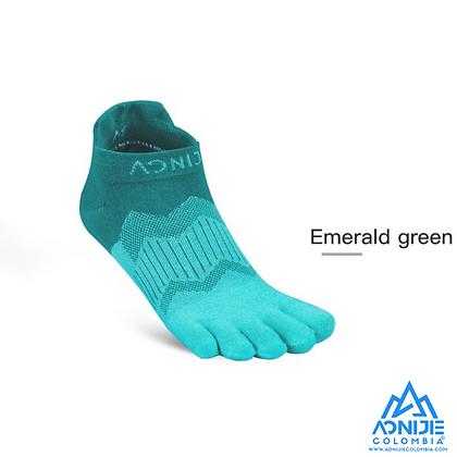 Medias de Dedos Aonijie CoolMax® XtraLife. 2 Pares. LOW Cut. Verde Esmeralda.