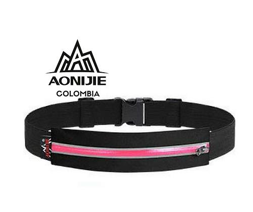 Cinturon Portadocumentos AONIJIE. Negro/Rosa.