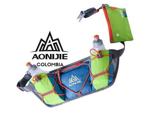 Cinturon AONIJIE Race + 2 Botellas 250cc. Verde/Azul.