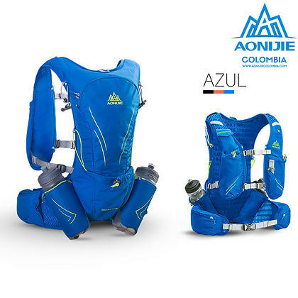 Chaleco AONIJIE Windrunner V2 15L + Botellas. Azul.