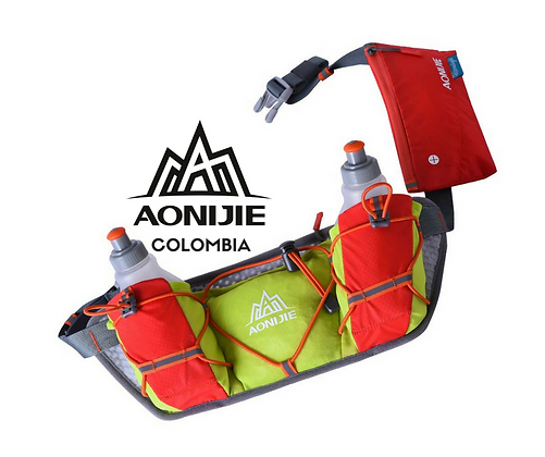 Cinturon AONIJIE Race + 2 botellas 250cc. Naranja/Verde.