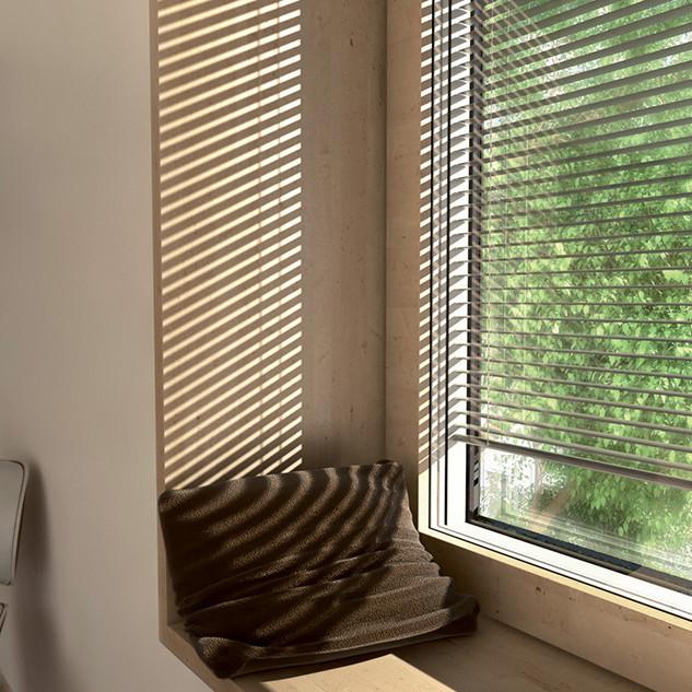 Fenêtre bois/alu avec store incorporé