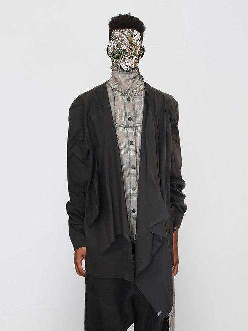 asymmetric denim cardigan