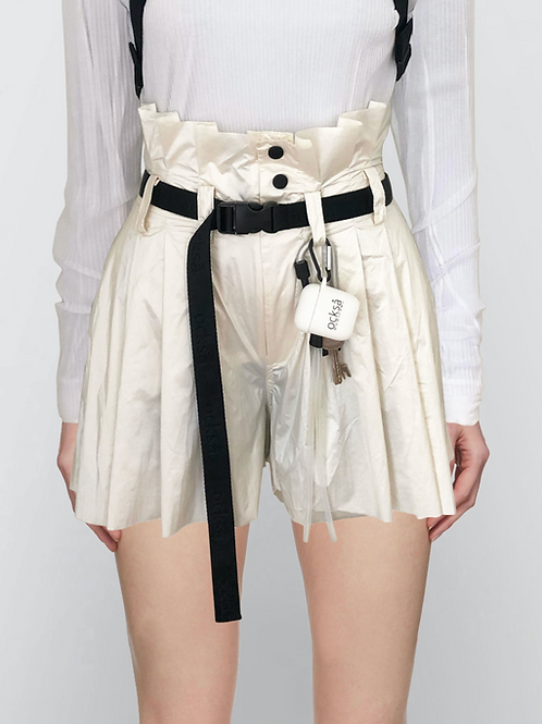pleated high waist shorts