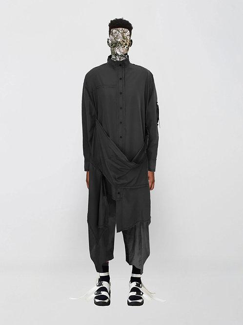 asymmetric nylon long shirt