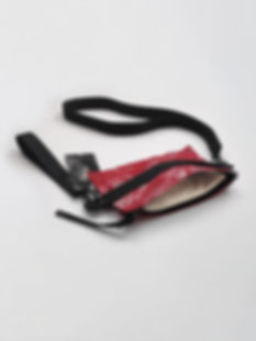 red handpainted shoulder bag with straps