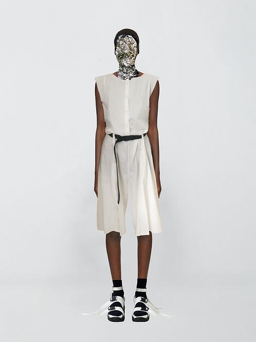 slits tailored linen jumpsuit