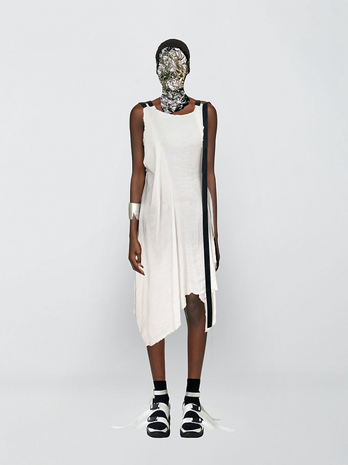 subtracted linen webbing dress