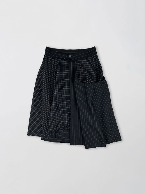 checked and striped layered skirt