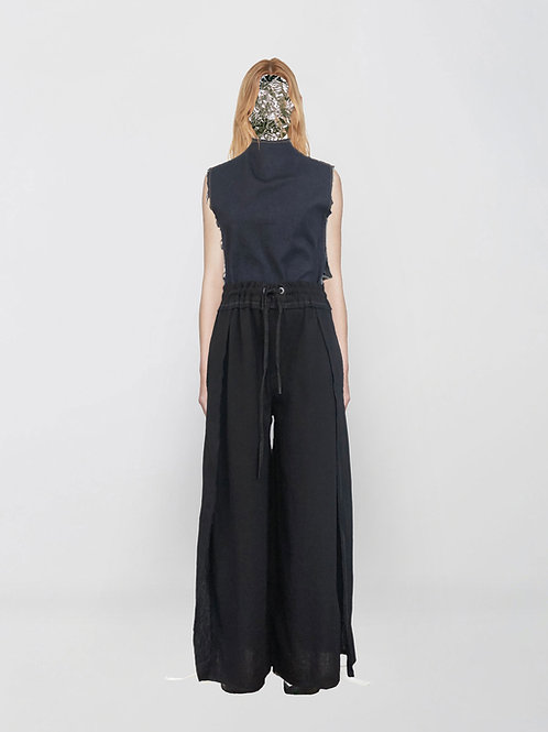 slits tailored linen trousers