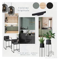 Moodboard cuisine noire et bois,, JLDECORR Agence Décoration d'intérieur à Montauban, Toulouse, Haut