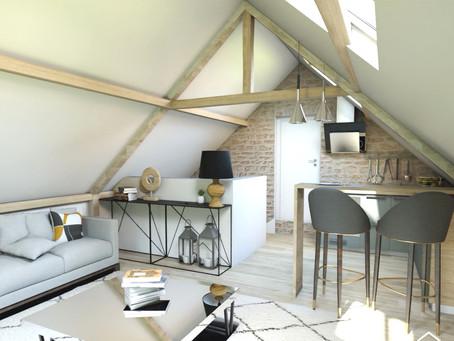Conception, aménagement et décoration d'un grenier en appartement destiné à la location