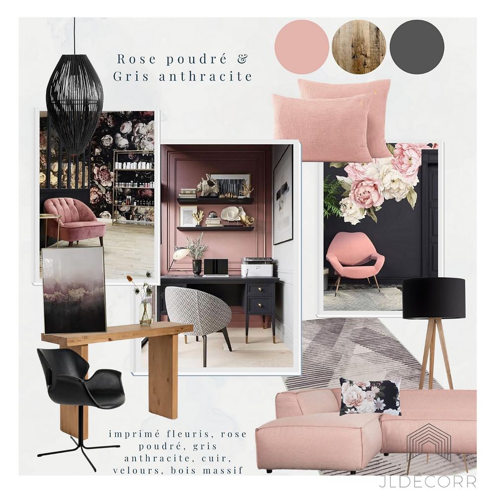Planche de style bureau grirly rose et noir - Jeanne Pezeril décoratrice intérieur