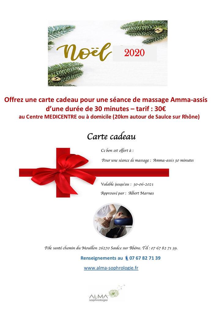 flyer Carte cadeau NOEL 2020 Amma assis