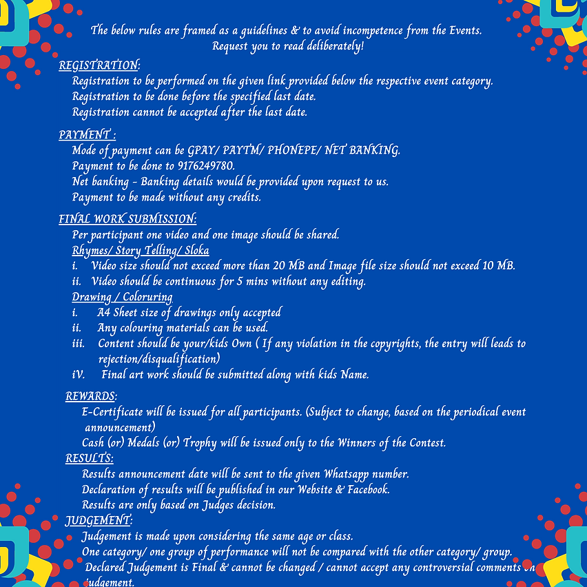 The below rules are framed as a guidelin