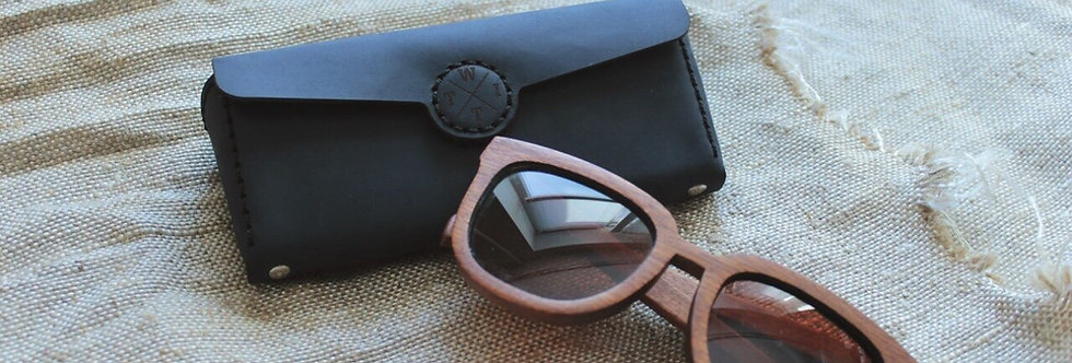 Кожаный чехол для очков ручной работы