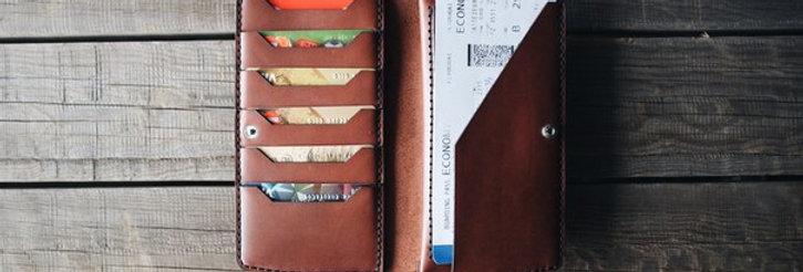 Коричневое портмоне ручной работы с монетницей