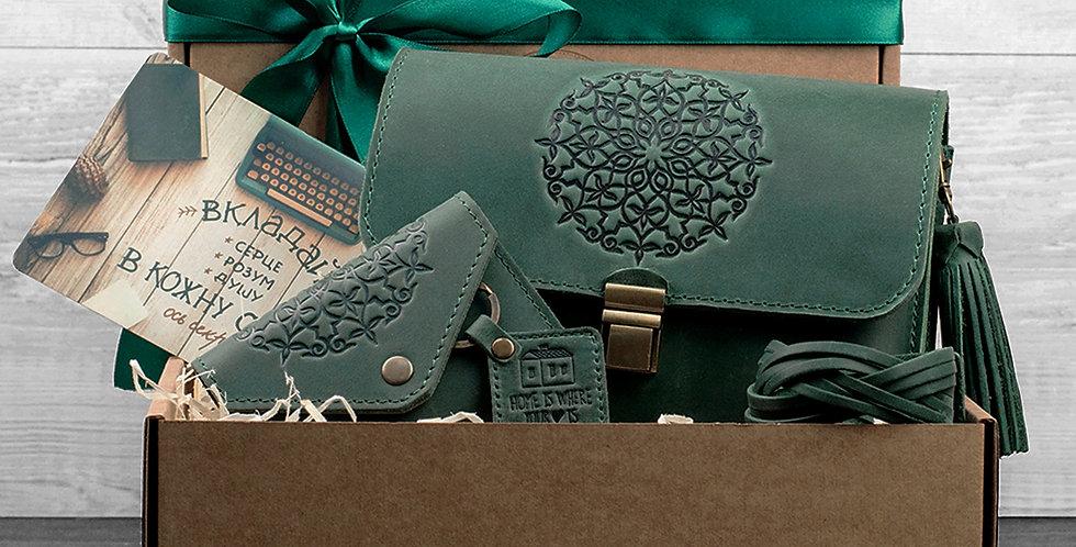 Женский подарочный набор кожаных аксессуаров ручной работы